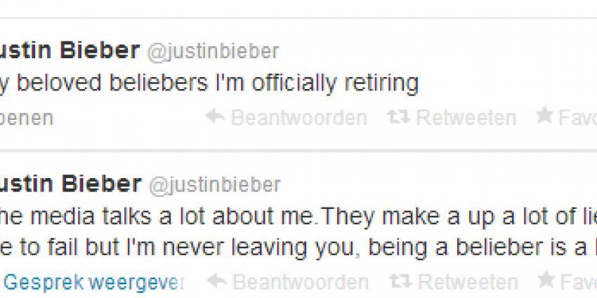 Pensioen Justin Bieber was toch een grapje