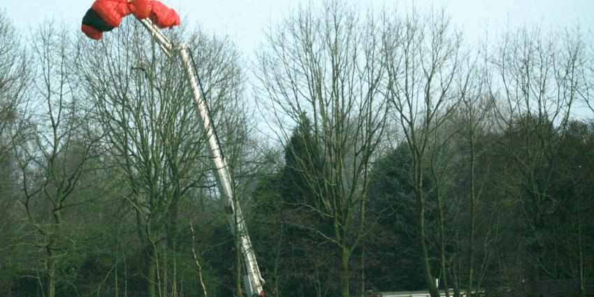 Brandweer redt parachutisten uit boom