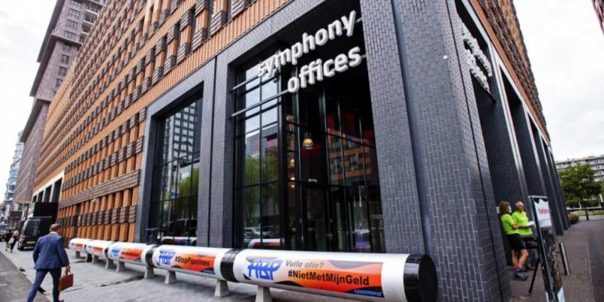 Lekkende oliepijpleiding voor kantoor Pensioenfonds (ABP) op de Zuidas