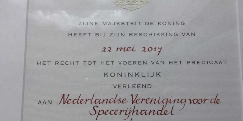 Nederlandse Vereniging voor de Specerijhandel krijgt predicaat 'Koninklijk'