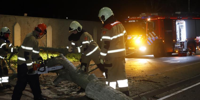 brandweer zaagt omgevallen boom in stukken