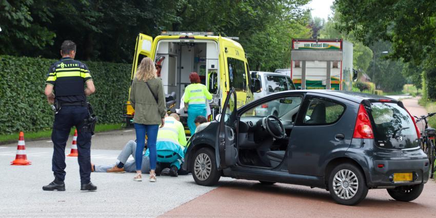 Fietser gewond op de weg