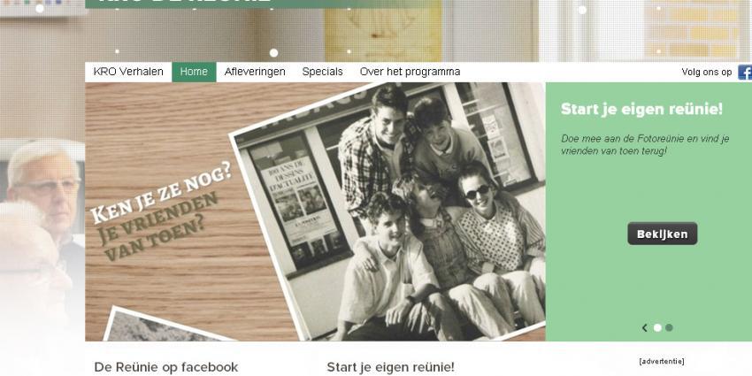 Screenshot van website De Reunie | KRO