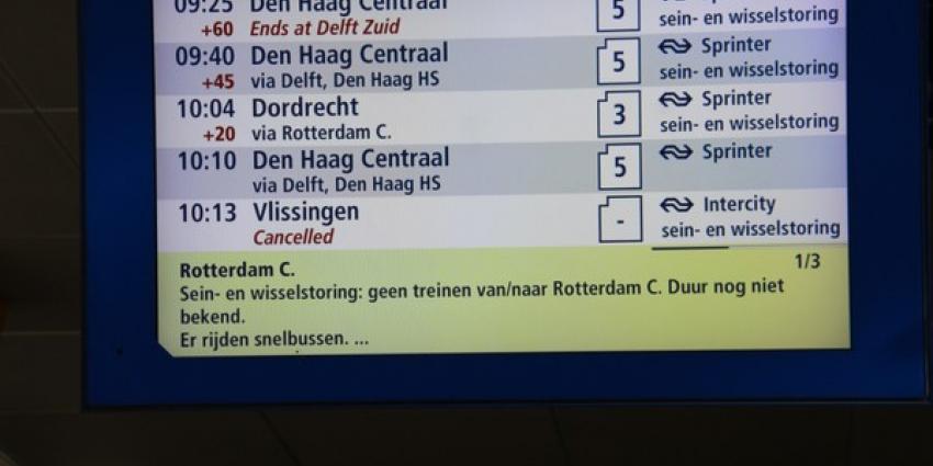 Door een sein-, wissel- en stroomstoring ligt treinverkeer rond Rotterdam helemaal plat