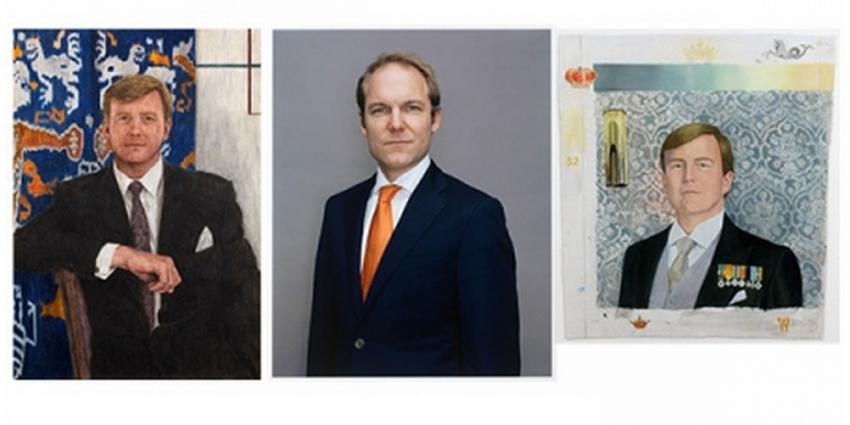 Foto van drie schetsontwerpen staatsieportret koning Willem-Alexander | Mondriaan Fonds