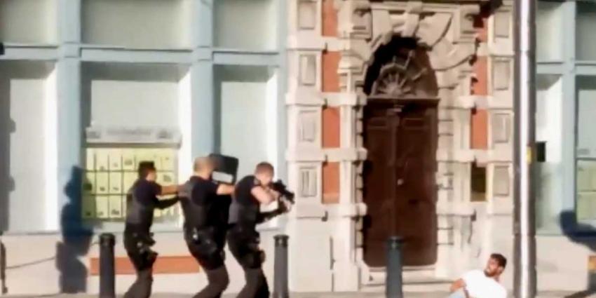 Schokkende video neerschieten gewapende man in Gent