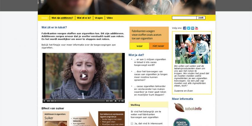 Foto van website watziterintabak.nl | RIVM/Trimbos