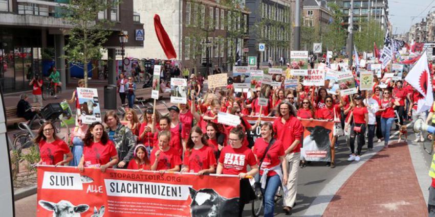 Dierenliefhebbers protesteerden in Amsterdam tegen slachthuizen