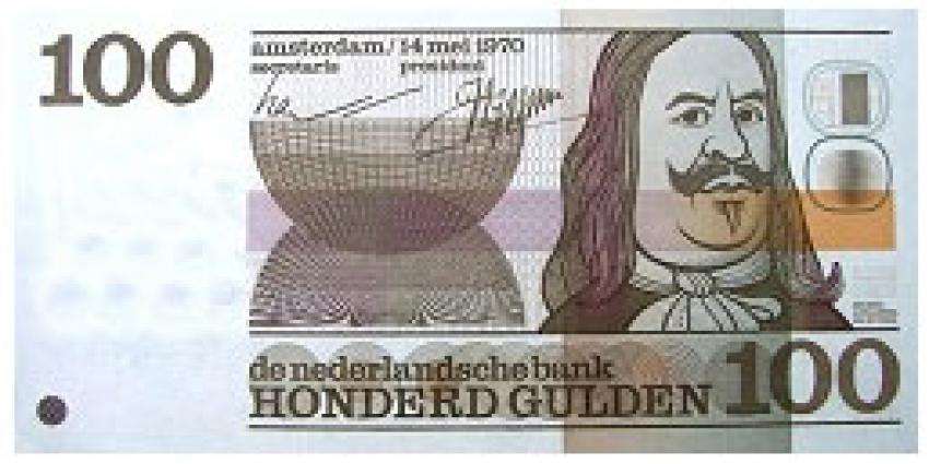 Honderd De Ruyter-biljetten van 100 gulden ingeleverd bij DNB