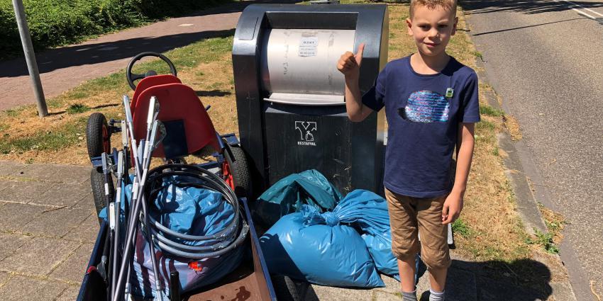 Opruimactie zwerfvuil door 7-jarige Stan uit Uithoorn