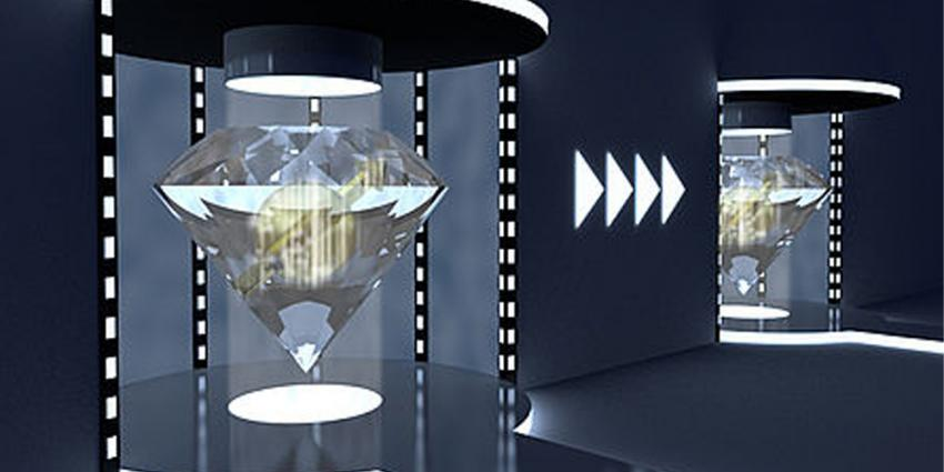 Foto van teleportatie met diamanten   TU Delft