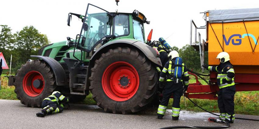 Kortsluiting veroorzaakt brand in traktor in buitengebied Oirschot
