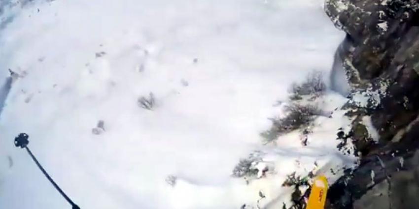 Skiër heeft engeltje op zijn schouder tijdens val van klif