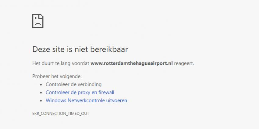 Website Rotterdam The Hague Airport ligt plat
