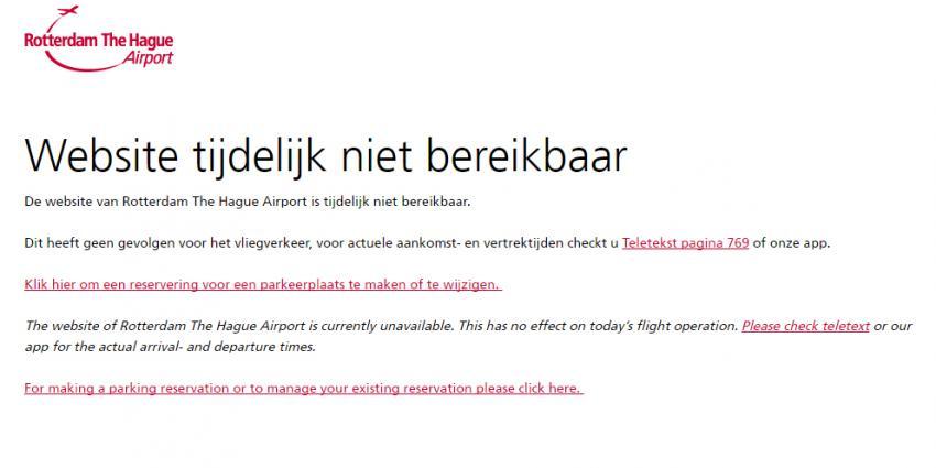 Website Rotterdam The Hague Airport ligt plat