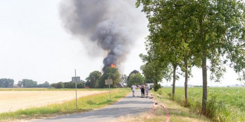 Uitslaande brand op boerderij  in Groningse Zijldijk