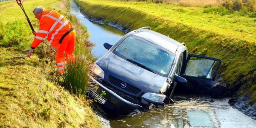 Auto raakt te water op de afrit A7 bij Zuidbroek