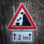 Foto van waarschuwingsbord vallend rots blok | Archief EHF