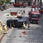 Brandweerlieden geven demonstratie