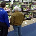 Foto van digitale televisies in winkel | Archief EHF