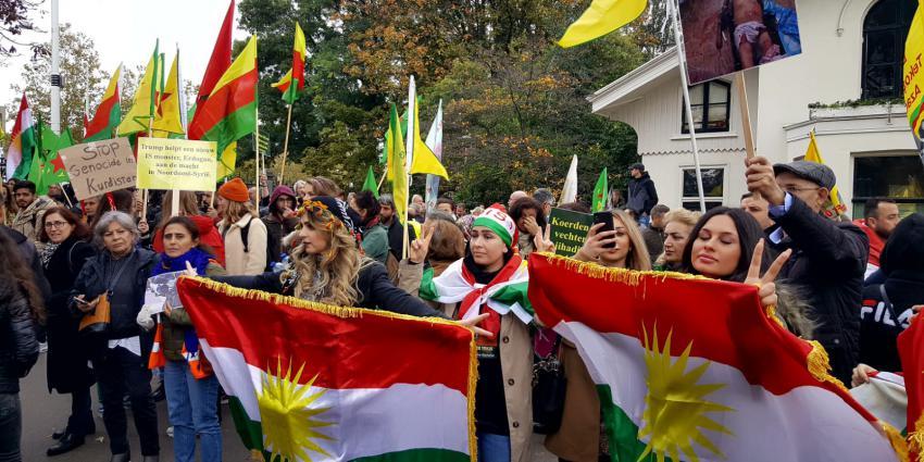 Demonstrerende Koerden in Amsterdam