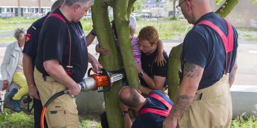 Brandweer redt bekneld kind uit boom