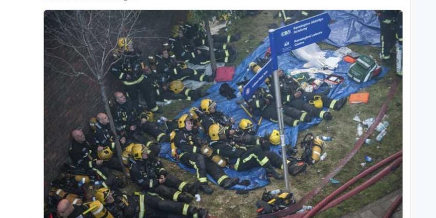 Brandweerlieden getraumatiseerd door verwoestende brand Londen