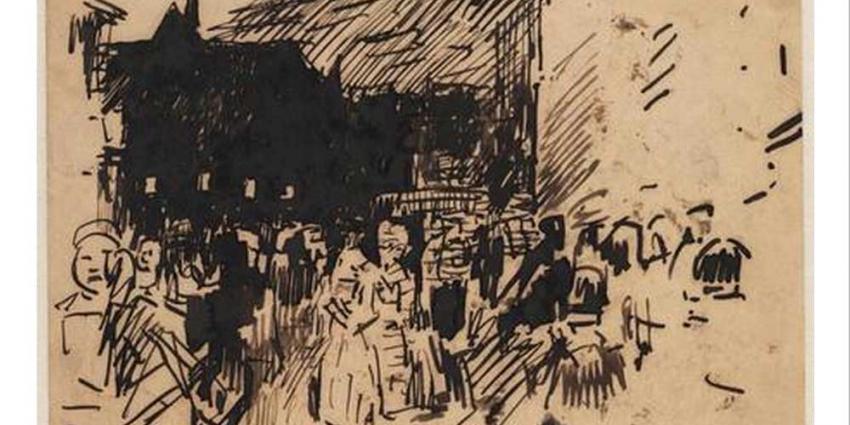 Gestolen pentekening Breitner in bruine envelop afgegeven bij Stadsarchief Amsterdam