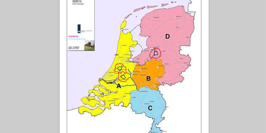 Nederland in vier regio's opgedeeld op vogelgriep te beteugelen