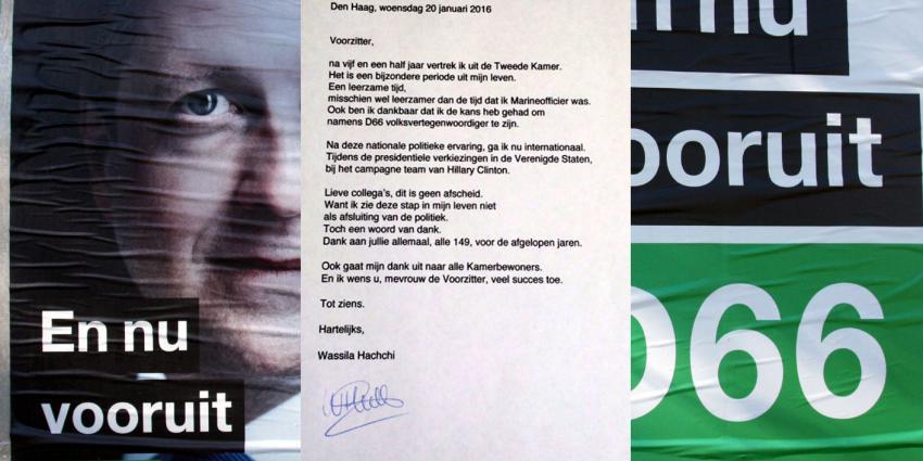 Raadselachtig vertrek D66-Kamerlid, Wassila Hachchi stuurt tweet met brief