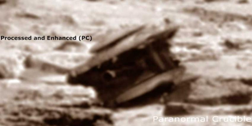 Wat voor voorwerp ligt hier op Mars te roesten?