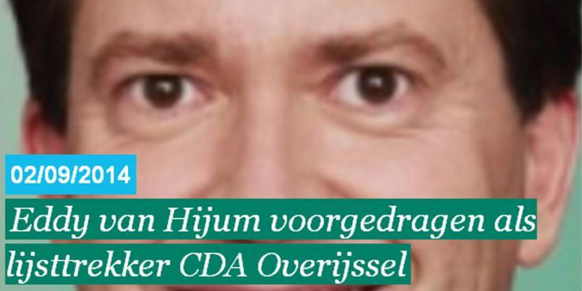 Eddy van Hijum verlaat 2e Kamer en gaat naar Staten in Overijssel
