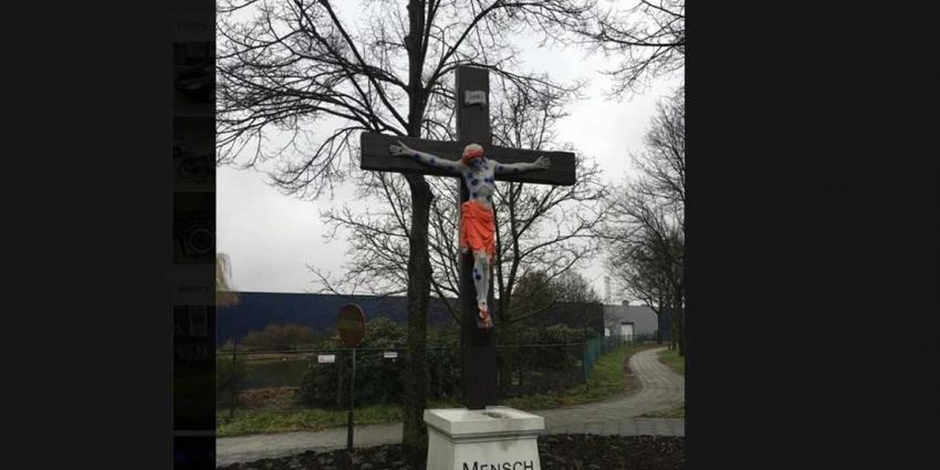 Agent Aarle-Rixtel op zoek naar bekladder gekruisigd Jezusbeeld