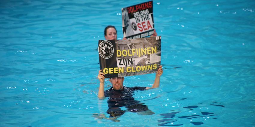 Vegan Strike Group voert actie in Dolfinarium Harderwijk