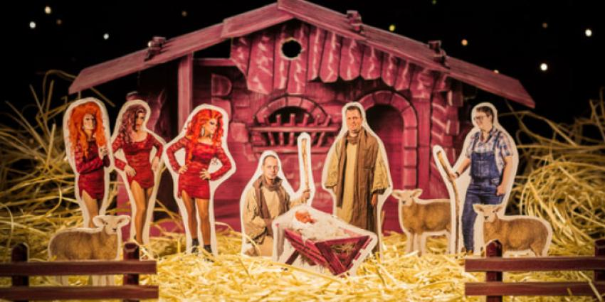Roze kerststal op wintereditie van Roze Maandag