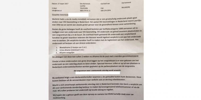 RIVM waarschuwt voor nep-brief uitnodiging verplichte HIV-test