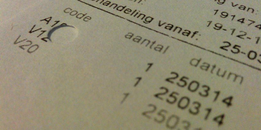 Foto van zorgnota declaratie code | Archief EHF