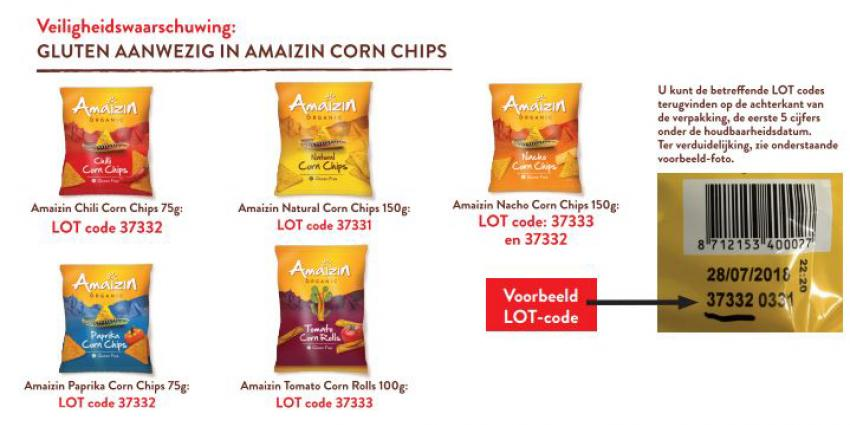Allergiewaarschuwing Amaizin Corn Chips