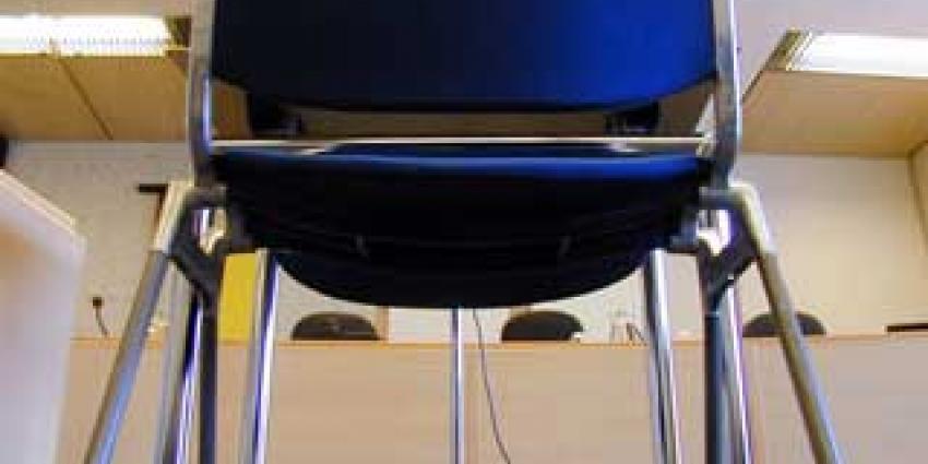 Foto van stoel van verdachte in rechtbank   Archief EHF