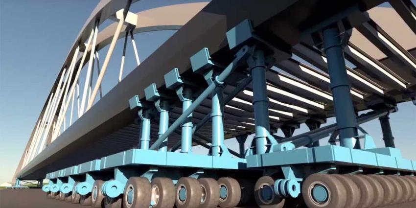 Nieuwe spoorbrug Muiderberg vannacht geplaatst
