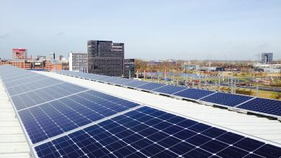 Foto van zonnepanelen op Euroborg | Essent