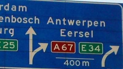 Foto van bord Antwerpen | Archief FBF.nl