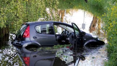 Auto te water geraakt Schiedam