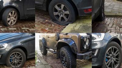 Tientallen autobanden lek gestoken Schiedam