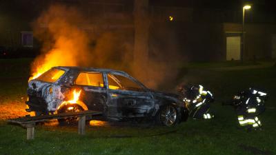 Auto in vlammen op in 's-Hertogenbosch