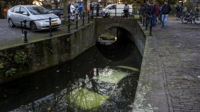Auto kopje onder in Schiedamse haven na vergeten handrem