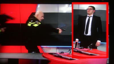 Man met vuurwapen in regiekamer NOS-Journaal overmeesterd