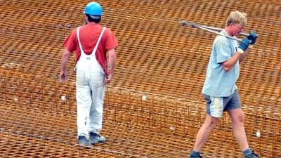 Foto van beton vlechter ijzer nieuwbouw | Archief EHF