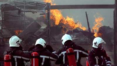 Foto van brandweermannen bij brand | Archief EHF