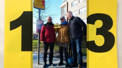 Buslijnbordje voor blinden en slechtzienden